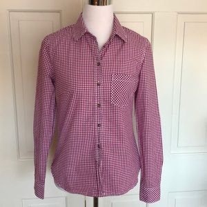 H&M Cranberry and White Button Down Sz 6
